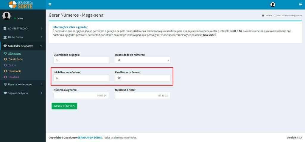 Gerador de Números da Mega Sena: inicializar / finalizar números